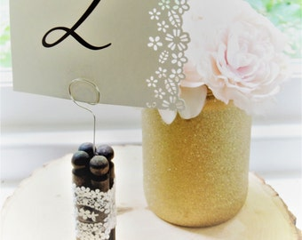 TABLE NUMBER HOLDERS Card Holders Weddings Stands Rustic Lace Tall Clothespins Wire Wood Country Silver Sign Menu Table Decor Decorations