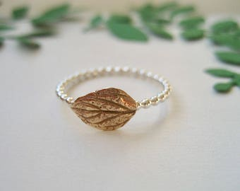 Gardening Gift Made In Sweden,Gold Leaf Ring,Sterling Silver Ring with Bronze Leaf,Dainty Ring Sterling Silver,Beaded Ring Silver,Boho Chic