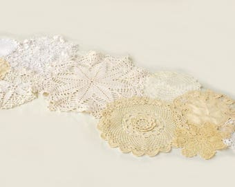 Handmade Multiple Doilies Table Runner/Shabby Chic/Bohemian Chic/Wedding Decor