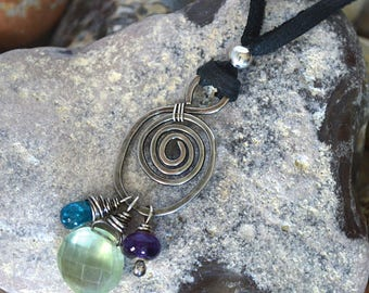 FREE SHIPPING---Prehnite Amethyst Apatite Swirl Leather Necklace---Sterling Silver---Creations by Sandy