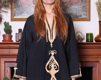 Vintage 70s Black Gold Embroidered Moroccan Kaftan L-XL