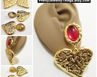 Avon Crinkle Heart Pink Bead Clip On or Pierced Post Earrings Gold Tone Vintage 1993 Bold Heart Extra Large Lightweight Textured Dangles