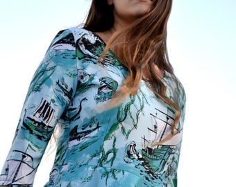 Sea Voyage Print Dress