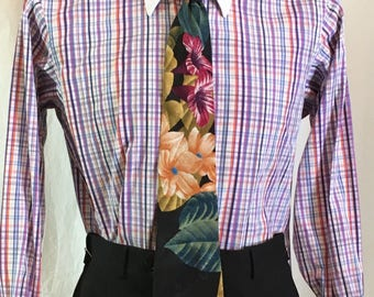 Turnbull & Asser Ltd Shirt, Brilliant Hue Plaid w White Collar and Cuffs, Well Loved (aka visibly worn) 15.5 neck, 31.5 Sleeve, French Cuffs