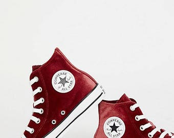 Red Converse Brick Crush Velvet velour High Top Custom w/ Swarovski Crystal Wedding Chuck Taylor Rhinestone Bling All Star Sneaker Shoe