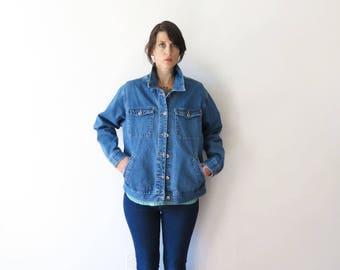 90s vintage jean jacket// boxy mid tone jean jacket coat// medium large
