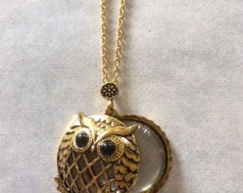 Magnifying Glass - Magnifying Glass Necklace - Magnifying Glass Pendant - Magnifying Necklace - Owl Necklace - Owl Jewelry - Owl Pendant