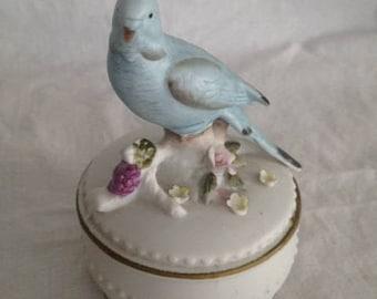 Vintage Trinket Box with Parakeet Figurine