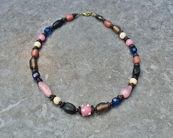 Glass Beads Necklace, Statement Necklace, Viking Jewelry, India Lampwork & Onyx, Beaded Necklace, Ethnic Jewelry, Bohemian Chic Boho Jewelry