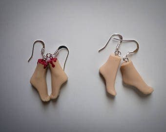 Dismembered barbie leg earrings creepy horror doll earrings