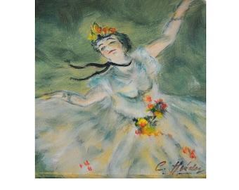 Original Ballerina Painting Artist Signed, Vtg Hand Painted Wood Box, Degas Style L'Étoile Ballet Dancer, Jewelry Trinket Keepsake Box 7 x 5