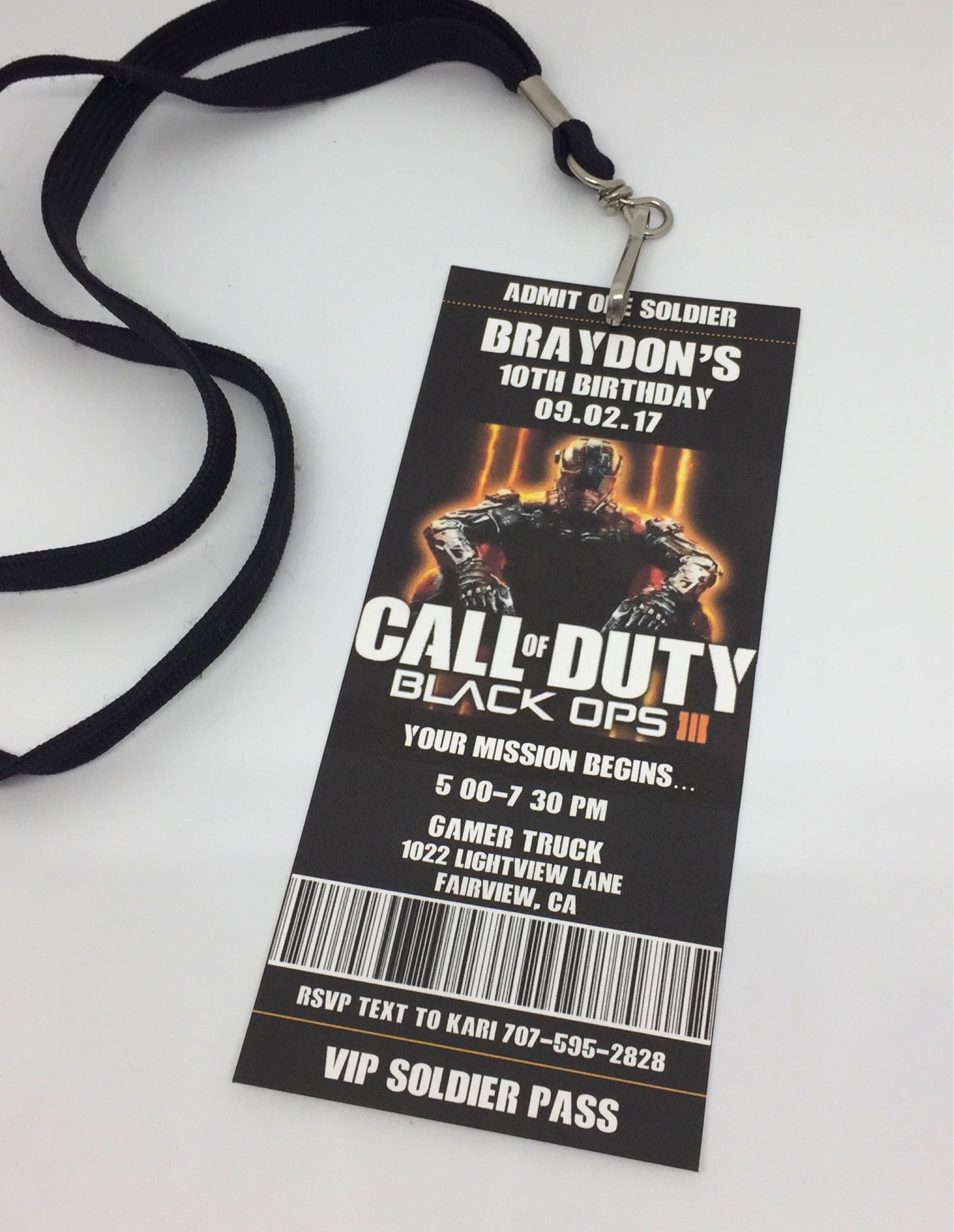 Call of Duty Birthday Invitation Call of Duty Printable