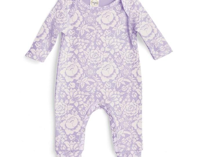 Baby Girl Romper Lavender Purple, Baby Girl Purple Bodysuit, Infant Girl Onesie, Newborn Baby Girl Floral Romper Tesababe