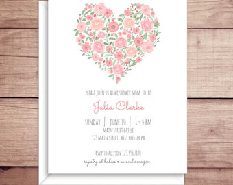 Baby Shower Invitations - Pink Floral Invitations - Pink Flowers Invitations - Floral Baby Shower Invitations - Pink Baby Shower