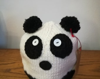 Panda hat in pure wool alpaca for children 12-24 months