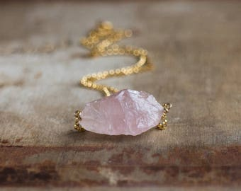 Raw Rose Quartz Necklace in Silver or Gold, Rough Pink Quartz Necklace, Pink Stone Necklace, Heart Chakra Stone, Raw Crystal Jewellery