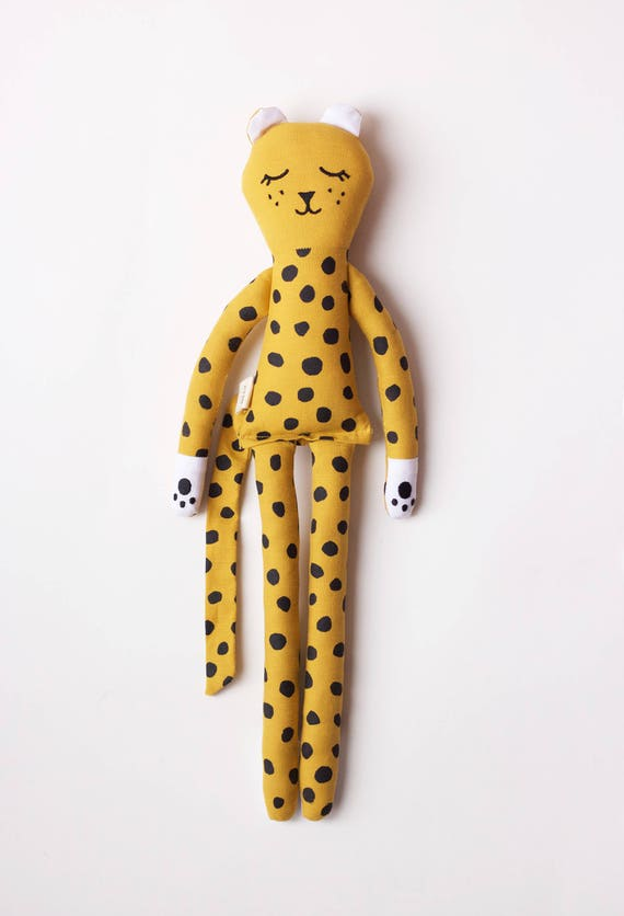 Yellow Leopard soft toy for kids: handmade with organic cotton