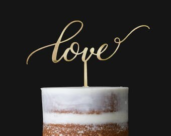 LOVE CAKE TOPPER for Wedding / Anniversary Topper / Gold Mirror Acrylic Topper
