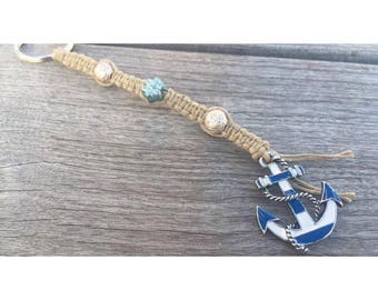 Blue/White Anchor- Silver