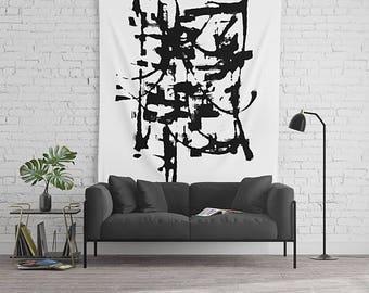 Black And White, Modern Art Tapestry, Wall Tapestry, Minimalist Wall Art, Large Wall Art, Dorm Room Decor, Art Wall Hanging, Minimalist Art