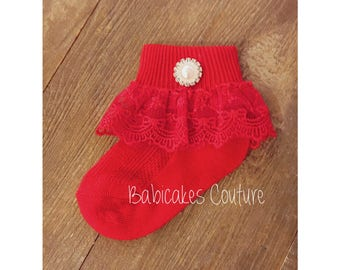 Christmas Baby Girl Socks, Red Baby Socks, Holiday Baby Socks, Special Occasion Socks, Red Lace Baby Socks, Newborn Socks, Fancy Baby Socks