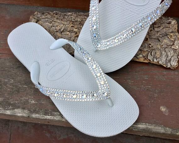 Crystal Wedding Flip Flops w/ Swarovski Moonlight Ivory Cream Rhinestones Beach Bridal Full Moon Iridescent Havaianas or Cariris Heel Shoes