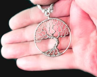 Silver tree necklace Family tree necklace Handmade necklace Wire tree-of-life Wire wrap pendant Tree of life jewelry Tree of life pendant