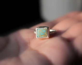 READY TO SHIP - King's Manassa Turquoise Sterling Silver Ring | Size 5.75 6 6.5 7 | Square Colorado Mine  | Boho Minimalist Gugma Jewelry