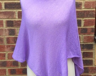 Ultra Violet  Pure Cashmere Draped Neck Poncho.Lightweight Spring  gauzy cashmere poncho cape.LIMITED EDITION  Fashion statement
