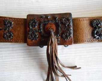 Vintage Brown  Leather Belt, 70s  Leather Belt, Women's Leather Belt, Boho women's leather belt