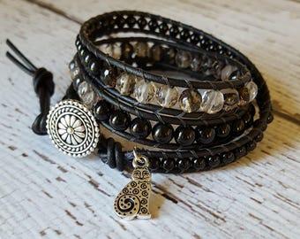 Smokey Cherry Quartz & Black Onyx Wrap Bracelet, Charm Bracelet, Beach Jewelry, Boho Wrap Bracelet, Yoga Jewelry, x3 Wrap Bracelet Beaded