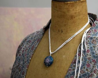 NC. Sacred spiral necklace with glass bead