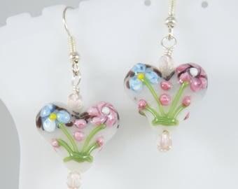 Hear Earrings, Lampwork Heart earrings, Floral Heart Earrings, Valentine Earrings, Glass earrings, Item #138