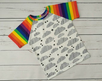 Handmade unisex 'Clouds Bring Rainbows' t-shirt, age 3-4.