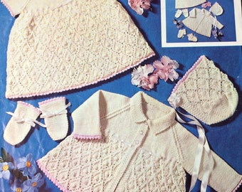 "Vintage knitting pattern 1970's Patons 6452 Baby dress/jacket/bonnet/bootees/mitts 18-19"" chest"