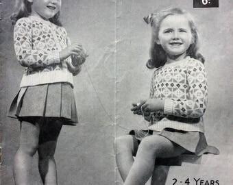 "Vintage knitting pattern 1940's Lavenda 1008 Fair Isle cardigan and jumper 24"" 3 ply"