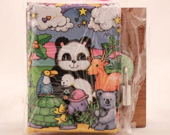 New! Vintage Kids Panda Journal with Lock and 2 Keys in Package. Sealed