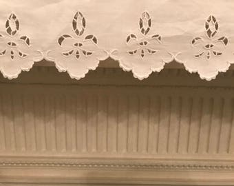 """Antique Linen shelf Valance/trim Hand Embroidered 49""""1/2 X 3""""1.2 Farmhouse , French country , home decor, sewing , Accessory , costume,dolls"""
