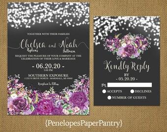 Romantic Rustic Gray Summer Wedding Invitation,Charcoal,Lavender,Purple,Violet,Amethyst,Roses,Fairy Lights,Printed Invitation,Wedding Set