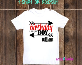 Birthday Boy shirt tshirt one piece body suit bodysuit little boy name personalized