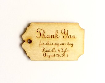 Thank you favor tag personalized wood wedding tag (set of 20)