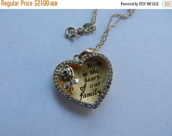 Summer Sale Vintage Sterling Silver Mom is the heart of out family Heart Pendant and chain