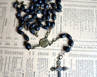 25% SALE Antique French Black Rosary Beads and Metal Cross Vintage Crucifix 1800s
