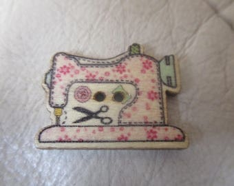 Pale Pink, Sewing machine themed wooden button needleminder