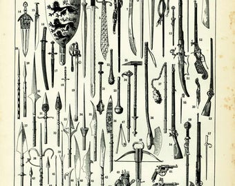 1897 Antique Weapons Army Military Antique Large Size illustration, original Larousse print, french antique, framing