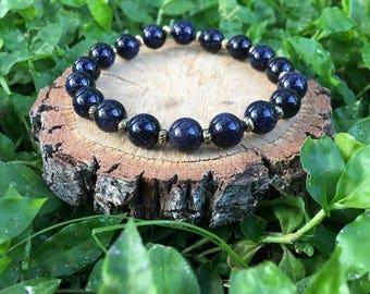 Dorothy Bracelet- Blue Sandstone(8mm) Bracelet- gemstone bracelet- boho bracelet- oliver grey jewelry- blue and gold