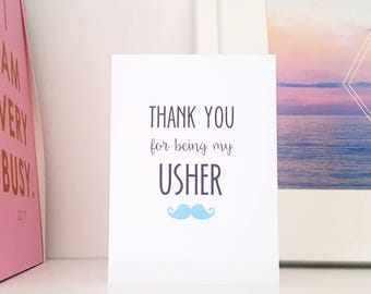 Thank you for being my Best Man, Groomsman, Usher card - Wedding Party - Moustache/Quirky