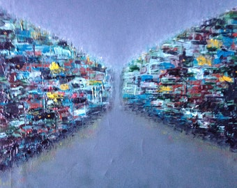 "Original oil painting by Nalan Laluk: ""City  Divided"""