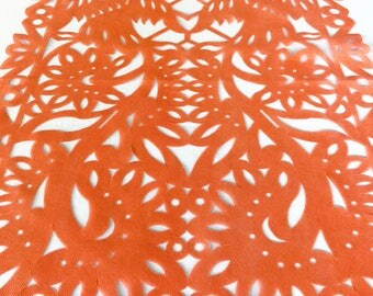 Papel picado table runner, Mexican orange synthetic fabric, fiesta party decorations, party supplies, table topper, talavera lace design