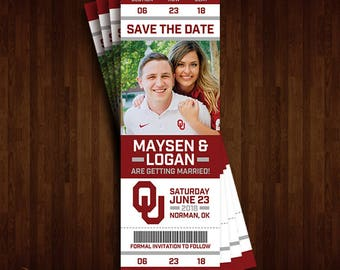 Oklahoma University, OU, Sooners Save the Date Ticket